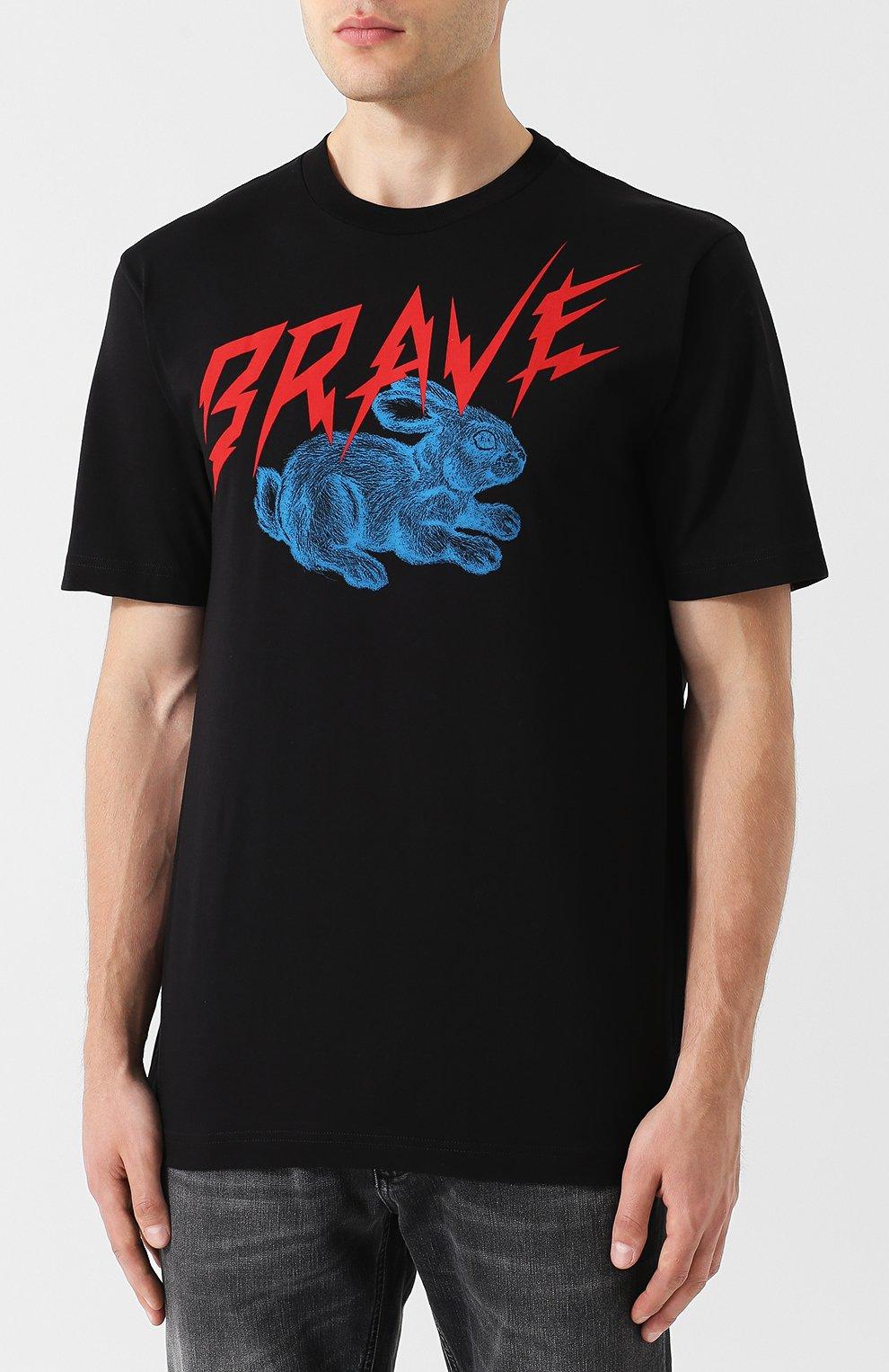Хлопковая футболка с принтом Diesel черная   Фото №3
