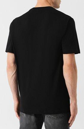 Хлопковая футболка с принтом Diesel черная   Фото №4