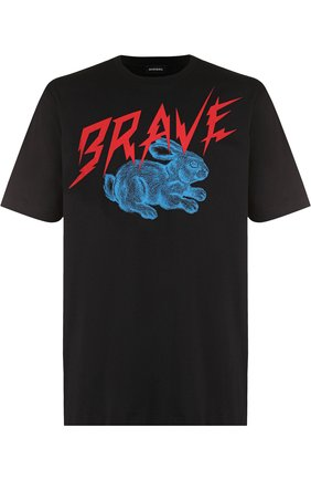 Хлопковая футболка с принтом Diesel черная   Фото №1