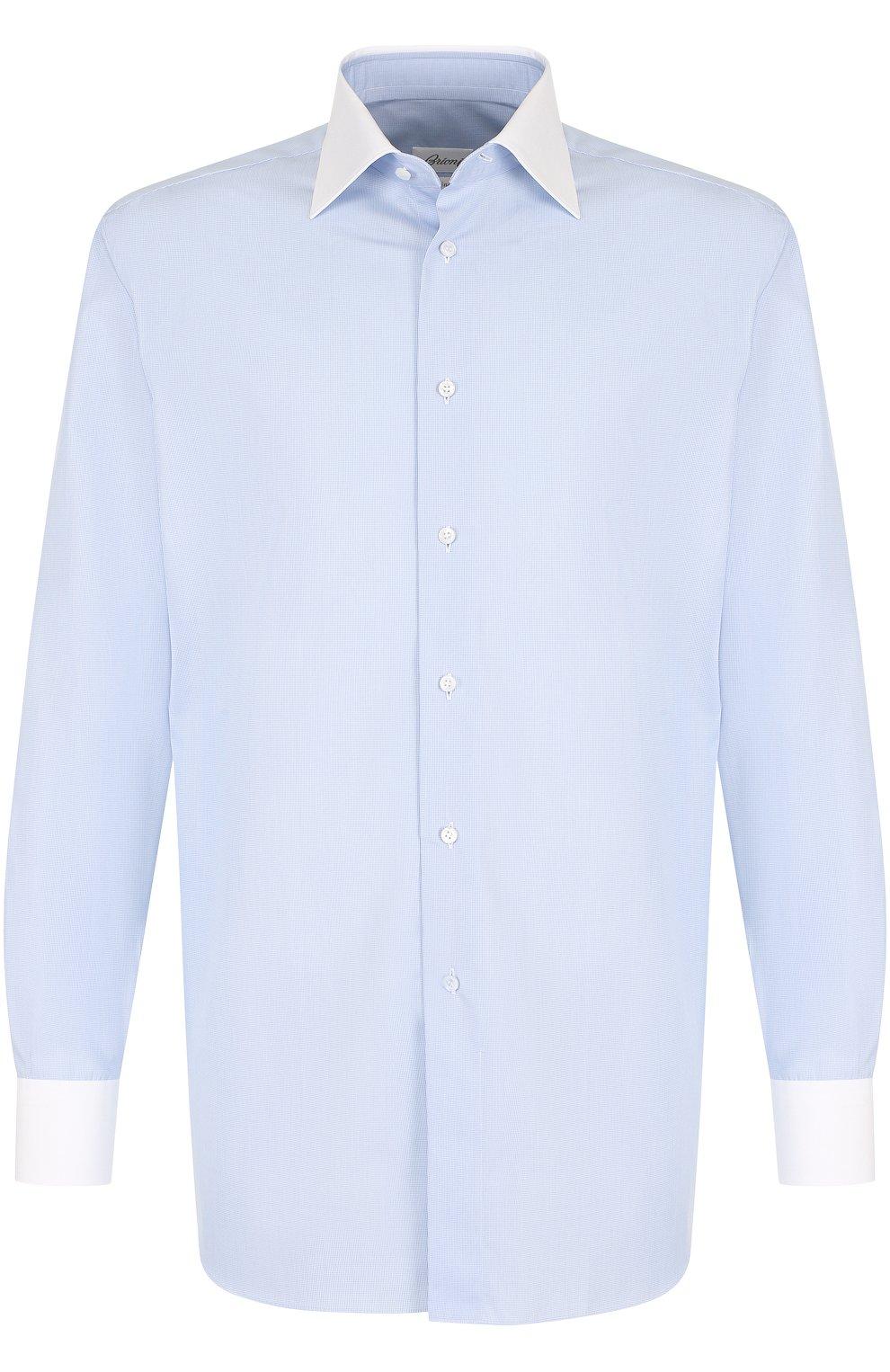 Мужская хлопковая сорочка с воротником кент BRIONI голубого цвета, арт. RCLU0W/0701H | Фото 1
