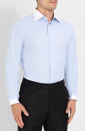 Мужская хлопковая сорочка с воротником кент BRIONI голубого цвета, арт. RCLU0W/0701H | Фото 3