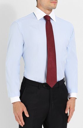 Мужская хлопковая сорочка с воротником кент BRIONI голубого цвета, арт. RCLU0W/0701H | Фото 4