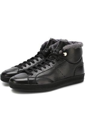 Высокие кожаные кеды на шнуровке с внутренней меховой отделкой Doucal's черные | Фото №1