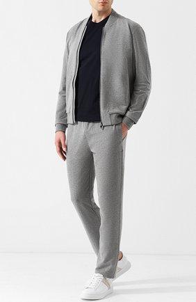 Мужской брюки прямого кроя из смеси хлопка и вискозы Z ZEGNA серого цвета, арт. V8451/ZZP16 | Фото 2