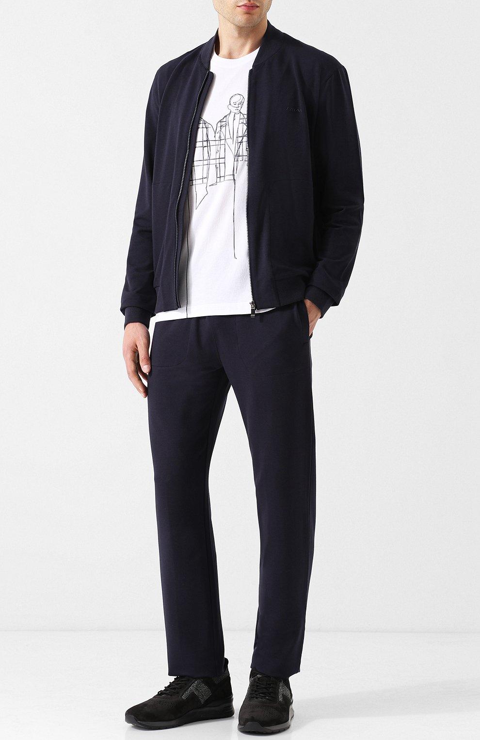 Мужские брюки прямого кроя из смеси хлопка и вискозы Z ZEGNA темно-синего цвета, арт. V8451/ZZP16 | Фото 2