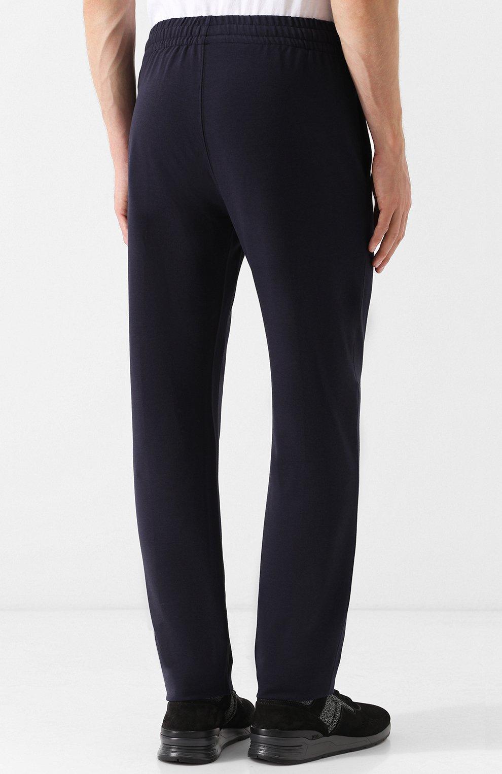 Мужские брюки прямого кроя из смеси хлопка и вискозы Z ZEGNA темно-синего цвета, арт. V8451/ZZP16 | Фото 4