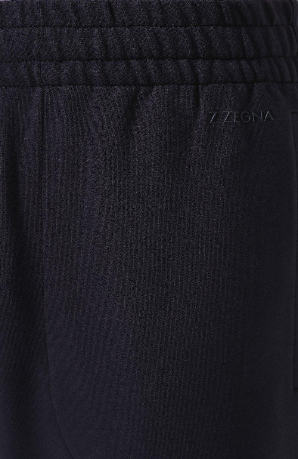 Мужские брюки прямого кроя из смеси хлопка и вискозы Z ZEGNA темно-синего цвета, арт. V8451/ZZP16 | Фото 5