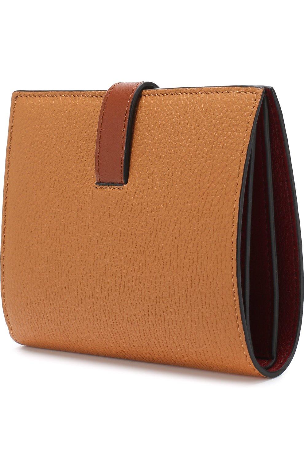 Кожаный кошелек с отделениями для кредитных карт Loewe светло-коричневого цвета | Фото №2