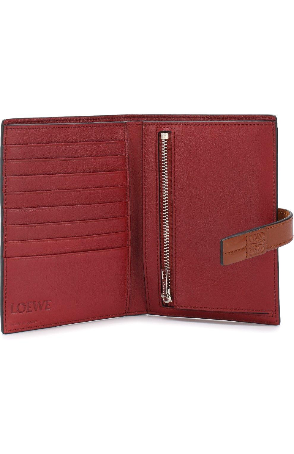 Кожаный кошелек с отделениями для кредитных карт Loewe светло-коричневого цвета | Фото №3