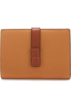 Кожаный кошелек с отделениями для кредитных карт Loewe светло-коричневого цвета | Фото №1