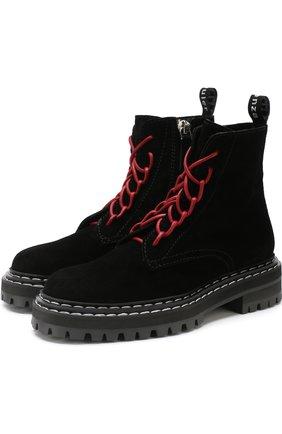 Высокие замшевые ботинки на шнуровке Proenza Schouler черные | Фото №1
