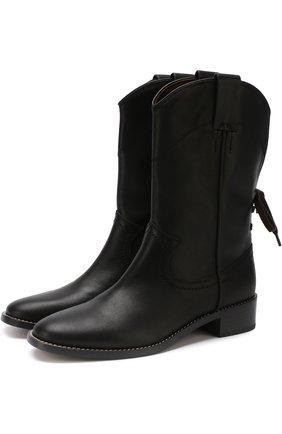 Кожаные сапоги на шнуровке See by Chloé черные   Фото №1