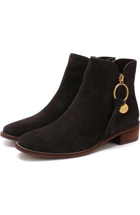 Замшевые ботинки с круглым мысом See by Chloé темно-серые   Фото №1