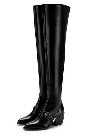 Женские кожаные ботфорты rylee на устойчивом каблуке CHLOÉ черного цвета, арт. CHC18A06121 | Фото 1