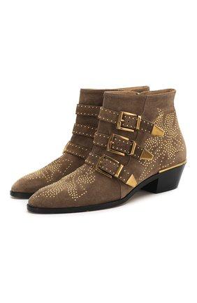 Женские замшевые ботинки susanna CHLOÉ хаки цвета, арт. CHC17A13418 | Фото 1