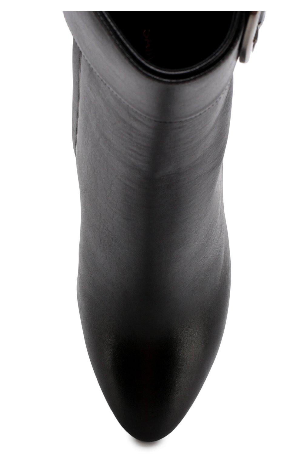 Кожаные ботильоны Joplin на устойчивом каблуке Saint Laurent черные | Фото №5