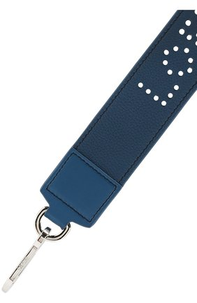 Кожаный ремень для сумки с перфорацией Loewe темно-синего цвета | Фото №1