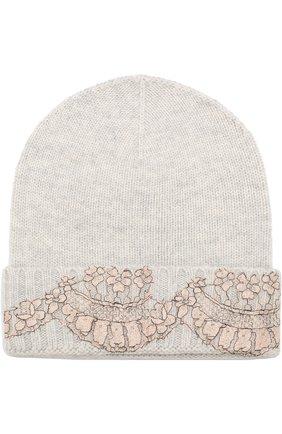 Женский кашемировая шапка бини с кружевной отделкой VINTAGE SHADES светло-серого цвета, арт. 13157A | Фото 1