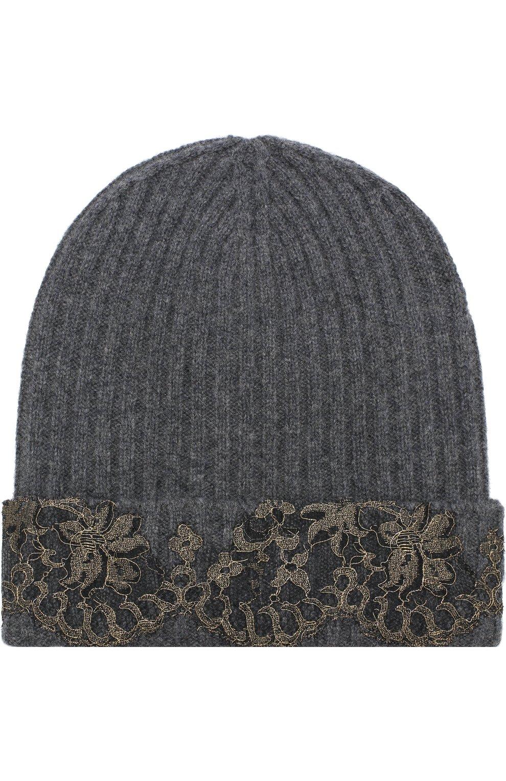 Кашемировая шапка бини с кружевной отделкой   Фото №1