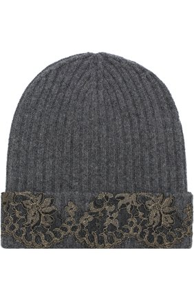 Женский кашемировая шапка бини с кружевной отделкой VINTAGE SHADES темно-серого цвета, арт. 13157B | Фото 1