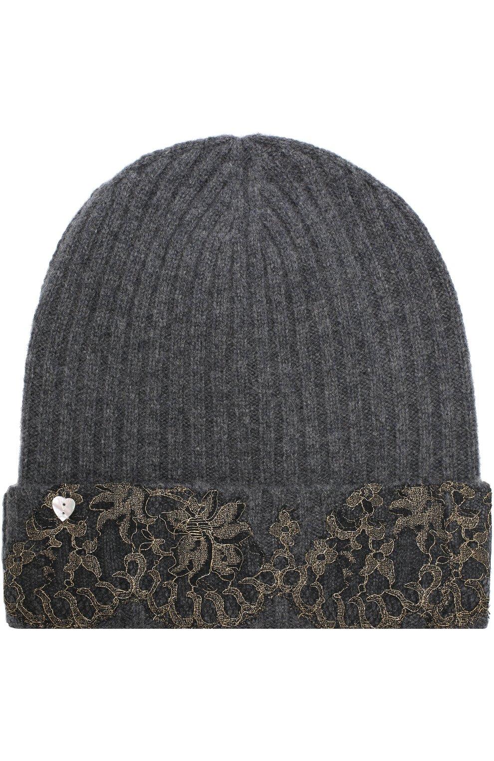 Кашемировая шапка бини с кружевной отделкой Vintage Shades темно-серого цвета   Фото №2