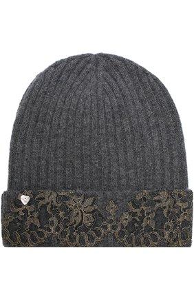 Кашемировая шапка бини с кружевной отделкой Vintage Shades темно-серого цвета | Фото №1