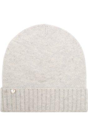 Кашемировая шапка бини с отделкой из стразов Vintage Shades светло-серого цвета | Фото №1