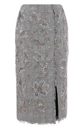 Льняная юбка в клетку с декоративной отделкой | Фото №1