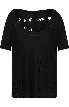 Хлопковая футболка с декоративными разрезами Ben Taverniti Unravel Project черная | Фото №1
