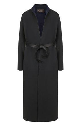 Женское однотонное кашемировое пальто с кожаным поясом LORO PIANA темно-синего цвета, арт. FAI1797 | Фото 1