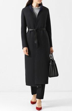Женское однотонное кашемировое пальто с кожаным поясом LORO PIANA темно-синего цвета, арт. FAI1797 | Фото 2
