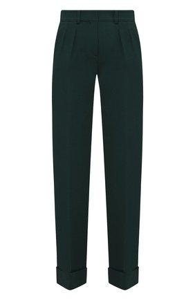 Однотонные шерстяные брюки с отворотами | Фото №1