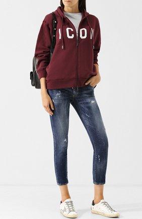 Укороченные джинсы с потертостями Dsquared2 голубые | Фото №1