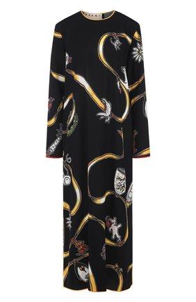 Платье-миди свободного кроя с принтом Marni черное | Фото №1