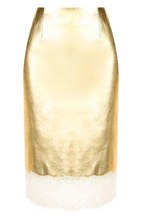 Кожаная юбка-карандаш с кружевной отделкой CALVIN KLEIN 205W39NYC золотая | Фото №1