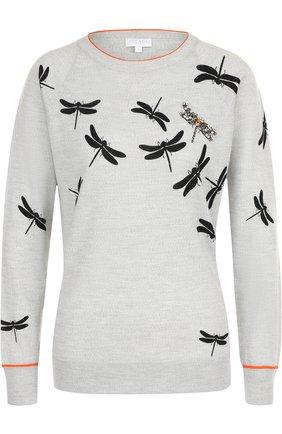 Шерстяной пуловер с принтом и декоративной отделкой Escada Sport серый | Фото №1