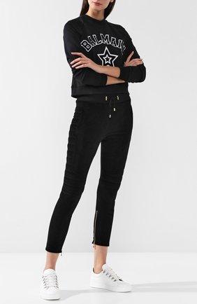 Укороченные бархатные брюки с эластичным поясом Balmain черные   Фото №1
