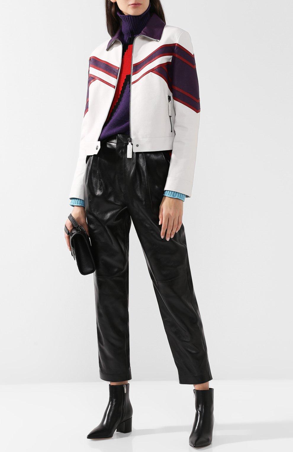 Кожаная куртка с контрастной отделкой и воротником-стойкой | Фото №2