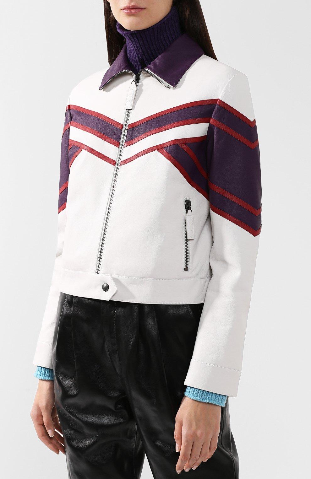 Кожаная куртка с контрастной отделкой и воротником-стойкой | Фото №3