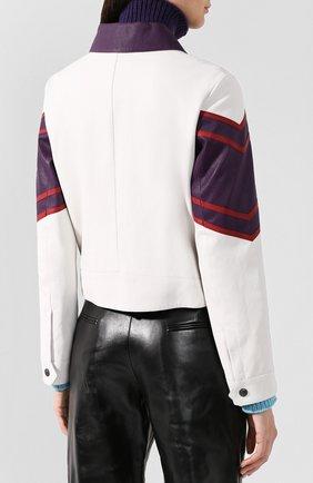 Кожаная куртка с контрастной отделкой и воротником-стойкой | Фото №4