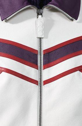 Кожаная куртка с контрастной отделкой и воротником-стойкой | Фото №5