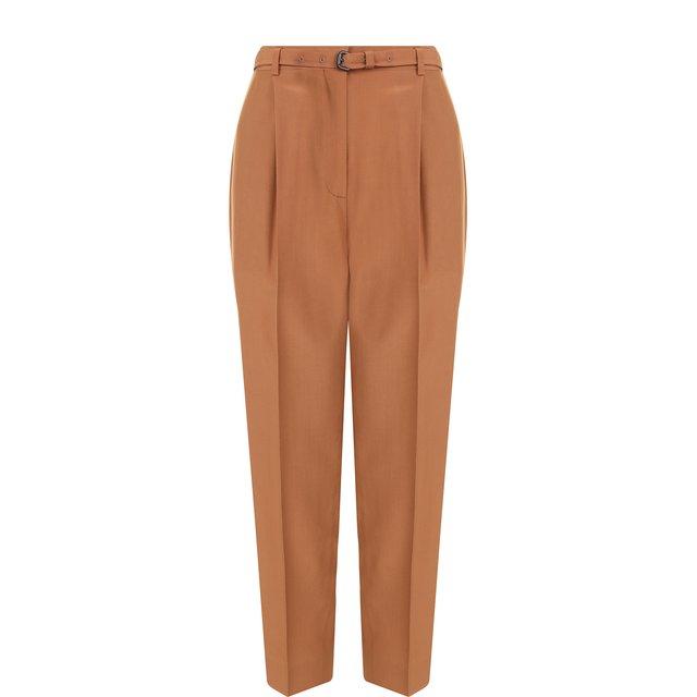 Укороченные шелковые брюки с поясом Bottega Veneta