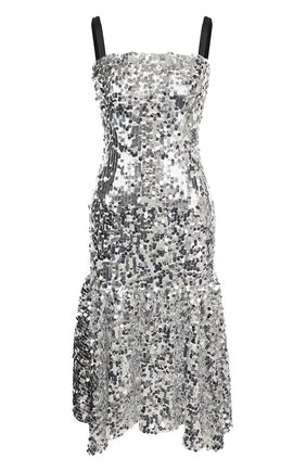 Приталенное платье-миди с оборкой и декоративной отделкой | Фото №1