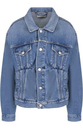 Женская джинсовая куртка с потертостями и накладными карманами BALENCIAGA синего цвета, арт. 529175/TSB06 | Фото 1