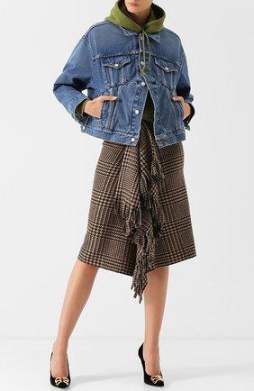 Женская джинсовая куртка с потертостями и накладными карманами BALENCIAGA синего цвета, арт. 529175/TSB06 | Фото 2