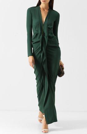 Приталенное платье-макси на молнии с оборками Roland Mouret зеленое | Фото №1