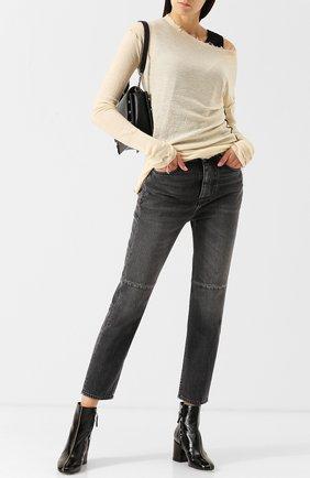 Укороченные джинсы с потертостями Golden Goose Deluxe Brand серые | Фото №1