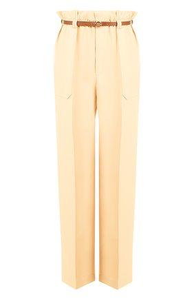 Однотонные брюки с завышенной талией и контрастным поясом