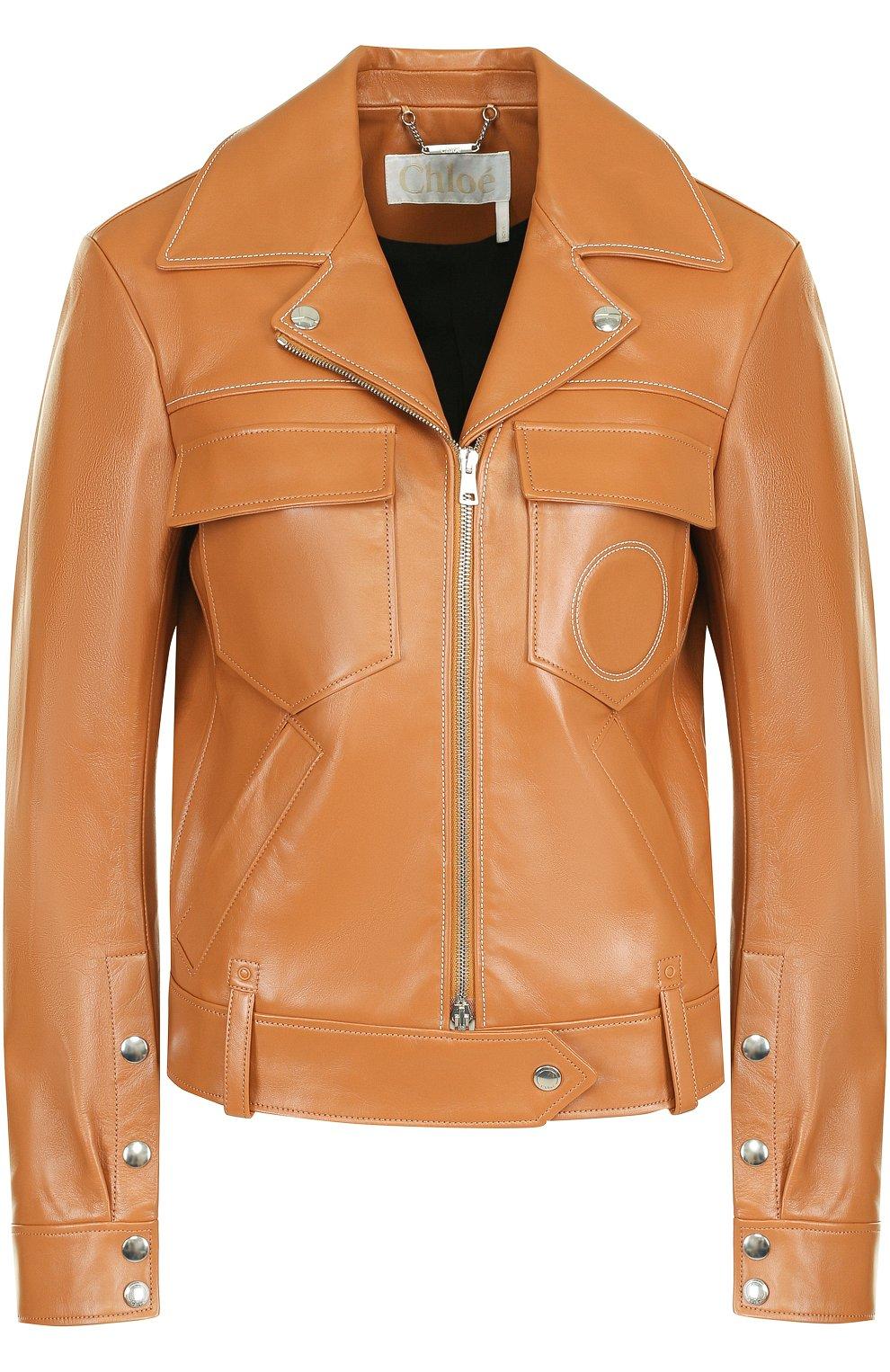 6904d4cd106 Кожаная куртка с поясом и накладными карманами Chloé светло-коричневая