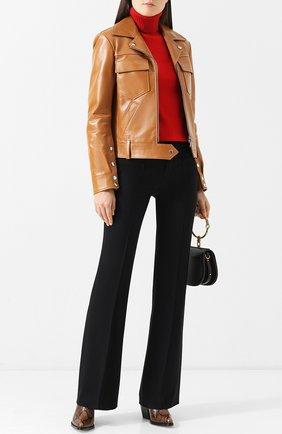 Женская кожаная куртка с поясом и накладными карманами CHLOÉ светло-коричневого цвета, арт. CHC18ACV01208 | Фото 2